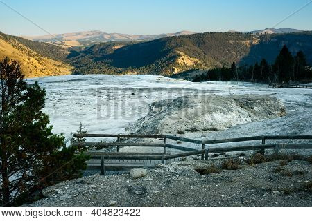 Late Afternoon View To The Southeast Over The Upper Terrace At Mammoth Hot Springs In Yellowstone Na