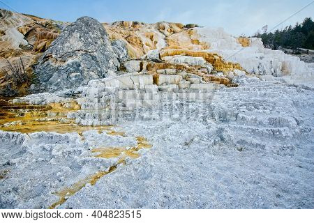 Palette Spring At Mammoth Hot Springs In Yellowstone National Park