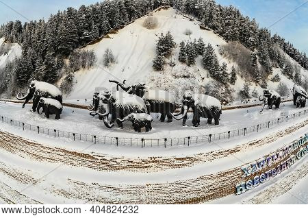 Khanty Mansiysk, Russia -14 January 2018: Memorial Complex In Ugra Dedicated To The Herd Of Mammoths