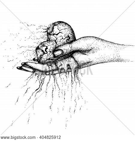 A Scorched, Crumbling Heart In A Woman Hand. Vector Hand Drawn Illustration. Monochrome Drawing Isol