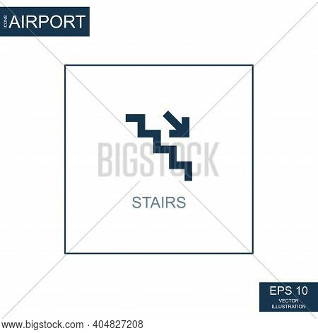 Abstract Icon Staircase On Airport Theme - Vector Illustration
