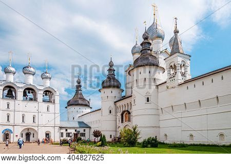 July 29, 2020. Golden Ring Of Russia. Kremlin Wall Of The Ancient Rostov Kremlin. Cathedral Of The A