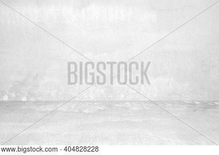 Empty White Concrete Room And Floor Background, Perspective Grey Gradient Concrete Room For Interior