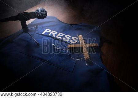 Media Journalism Fake News Concept. Blue Journalist (press) Vest In Dark With Backlight And Fog. Pup