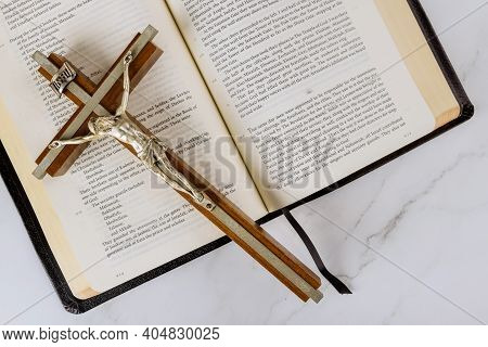 22 January 21 New York Us 2021: Cross Over A Holy Bible With Salvation Jesus On Way To God Through P