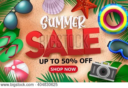 Summer Sale Vector Banner Background. Summer Sale Text Advertisement Promotion With Up To 50% Off In