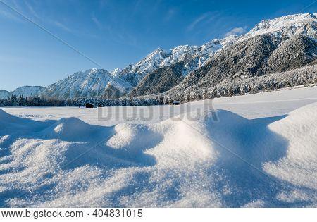 Snow Covered Rocky Austrian Alps With Blurred Sparkeling Snow Heaps, Wildermieming, Tirol, Austria