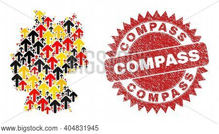 German Map Mosaic In German Flag Official Colors - Red, Yellow, Black, And Grunge Compass Red Rosett