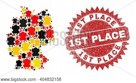 German State Map Mosaic In German Flag Official Colors - Red, Yellow, Black, And 1st Place Red Roset