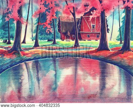 Magic Watercolor Nature Landscape With Red House And Pond In Autumn Or Summer Forest. Hand Drawn Out