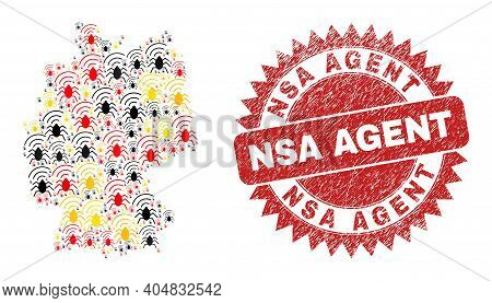 Germany Map Mosaic In Germany Flag Official Colors - Red, Yellow, Black, And Dirty Nsa Agent Red Ros