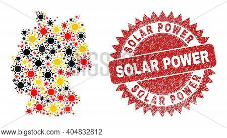 Germany Map Mosaic In Germany Flag Official Colors - Red, Yellow, Black, And Rubber Solar Power Red