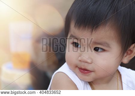 Close Up Happy Smiling Little Girl. Portrait Cute Child Baby Girl. Positive Female Little Baby. Clos