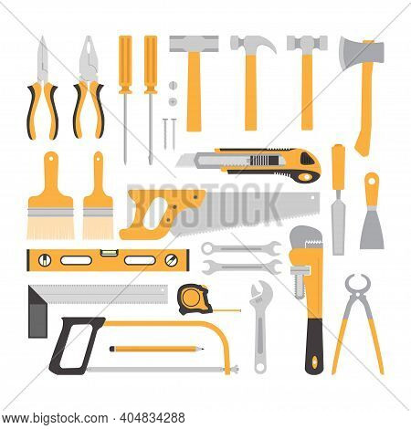 Carpentry Tools Flat Design Concept, Yellow Carpentry Tools Collection Isolated On White Background