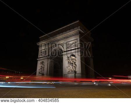 Long Exposure Night Panorama Light Trails Traffic Lights At Arc De Triomphe Etoile Monument Champs E