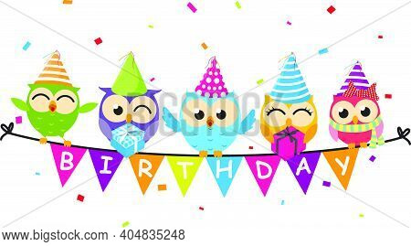 Happy Birthday Card With Owl And Bunting Flag