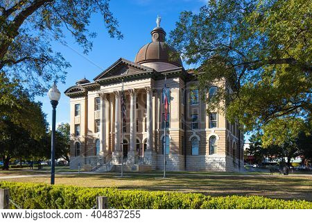 The Hays County Historic Courthouse, In San Marcos, Texas Usa