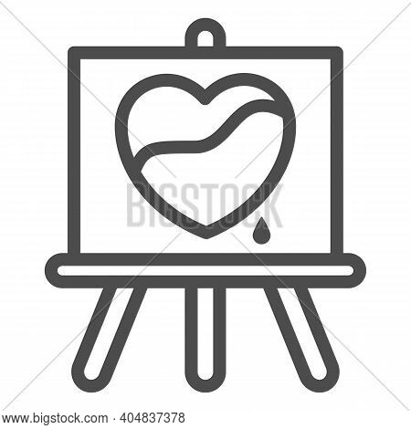 Painted Heart On Canvas Line Icon, Valentines Day Concept, Wood Easel Sign On White Background, Canv
