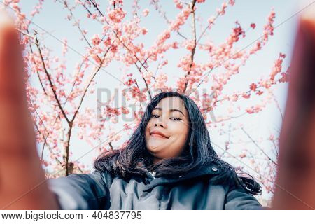 Tourist Woman Traveling And Taking Photos On Mobile Phone Camera With Sakura Flowers, Woman Journey