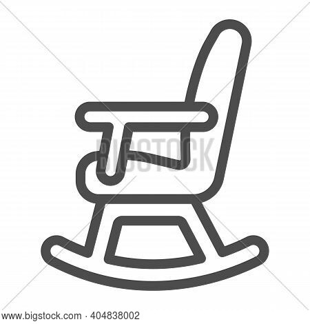 Rocking Chair Line Icon, Winter Season Concept, Rocker Sign On White Background, Chair Rocking Furni