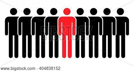 Grouping People Flat Icon Isolated On White Background. Teamwork Symbol. Leadership Vector Illustrat