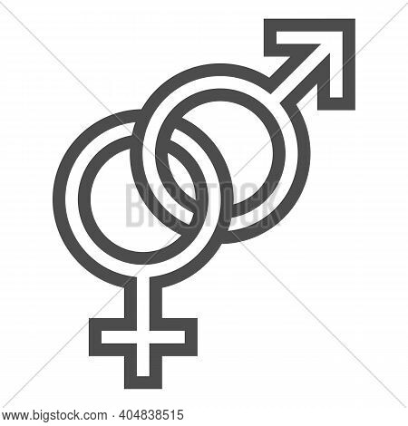 Heterosexual Symbols Line Icon, Valentines Day Concept, Male And Female Sign On White Background, Ge