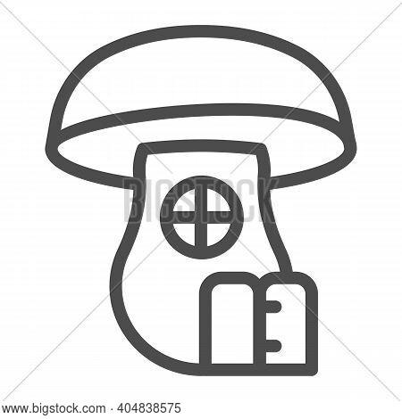 Mushroom House Line Icon, Fairytale Concept, Hobbit House In Form Of Mushroom Sign On White Backgrou