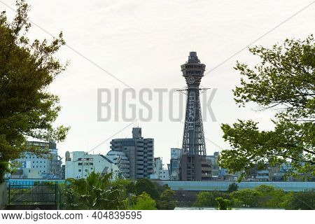 Osaka ,japan-april 22 : Tsutenkaku Tower On April 22,2015 In Osaka. It Is A Tower And Well-known Lan