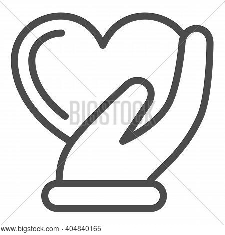 Heart In Gentle Hand Line Icon, Valentines Day Concept, Heart Care Sign On White Background, Palm Ho
