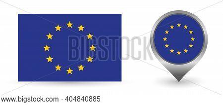 Vector Flag European. Location Point With Flag European Inside.