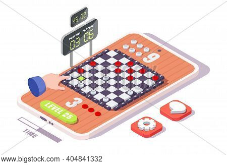 Isometric Checkerboard, Hand Playing Checkers On Smartphone Screen, Flat Vector Illustration. Checke