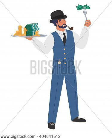 Rich Gentleman Banker With Tray Full Of Cash Money, Flat Vector Illustration. Wealthy Businessman, M