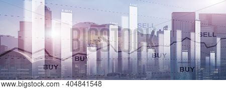 Trading Finance Stock Market Graph Chart Diagram Business Forex Exchange Concept Website Header.
