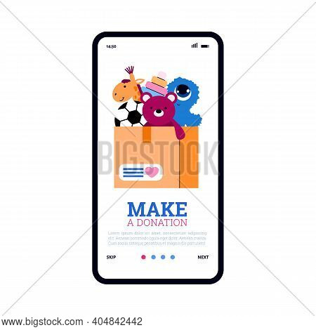 Onboarding Page Layout For Children Charity Foundation With Donation Box Full Of Toys, Flat Vector I