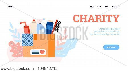 Vector Design Web For Charity And Donation. Cardboard Box Full Cleaning And Hygiene Products To Help