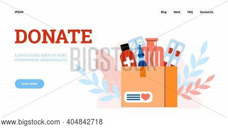 Concept Of Donation Of Medical Supplies And Medicines Web Banner, Cartoon Vector Flat Illustration.