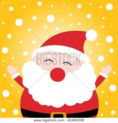 Feliz Navidad Santa Claus en fondo Nevado