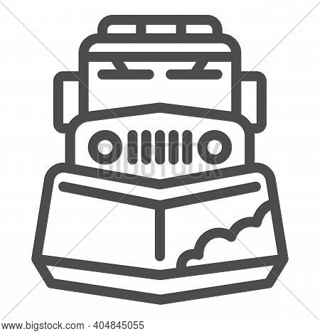 Snow Plow Truck Line Icon, Winter Season Concept, Snow Removal Machine Sign On White Background, Sno