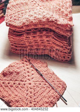 Knitting Crochet Cotton Pink Yarn Thread Hook Craft Creative Closeup Macro Photo