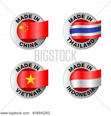 Country Of Origin Icons Set - Made In China, Thailand, Vietnam And Indonesia - Isolated Badges With