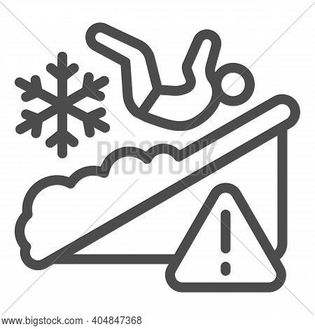 Man Falls On Ice Line Icon, Winter Season Concept, Slippery Ice Sign On White Background, Fallen Per
