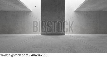 Abstract Empty, Modern Concrete Walls Room With Indirekt Ceiling Light And Center Wall - Industrial