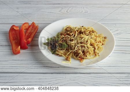 Plate Of Vermicelli Fried With Minced Meat And Chopped Vegetables