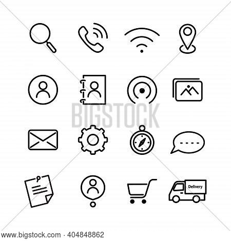 Icon Set. Search Icon, Phone Icon, Mail Icon, Location Pin Icon Contact Icon, Phonebook Icon, Cart I