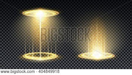 Gold Hologram Portal. Magic Fantasy Portal. Magic Circle Teleport Podium With Hologram Effect. Vecto