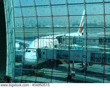 Dubai, Uae - 27 Apr 2012: The Airplane In Dubai Airport, Uae