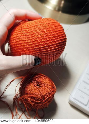 Orange Ball Process Knitting Crochet Cotton Yarn Thread Hook Craft Creative Closeup Macro Photo