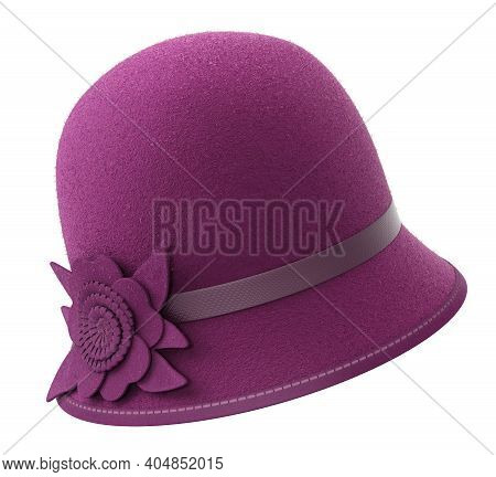 Felt Female Classic Cloche Hat - 3d Illustration