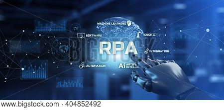 Rpa Robotic Process Automation Innovation Technology Concept. Robot Hand Pressing Button On Screen 3