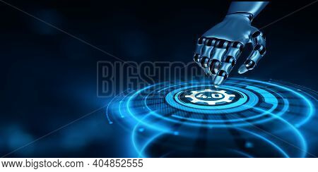 Industry 4.0 Smart Manufacturing Lean Business Innovation Technology Concept. Robot Hand Pressing Bu
